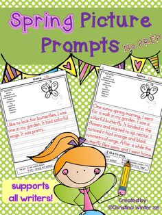 Spring Picture Prompts~ These printables naturally differentiate your writing center.  Each page has key vocabulary to support your young writers. These are a perfect addition to your work on writing center!