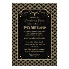 De vintage Partij van de Vrijgezellin van Gatsby 12,7x17,8 Uitnodiging Kaart