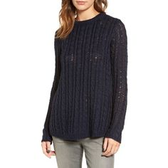 Women's Velvet By Graham & Spencer Cable Knit Sweater ($158) ❤ liked on Polyvore featuring tops, sweaters, navy, cable-knit sweater, loose sweater, blue sweater, crew neck sweaters and layered sweater
