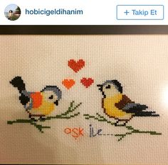 Discover thousands of images about İnstegram Cross Stitch Cards, Simple Cross Stitch, Cross Stitch Animals, Cross Stitching, Bird Embroidery, Hand Embroidery Patterns, Cross Stitch Embroidery, Embroidery Designs, Canvas Template