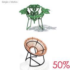 Cadeira Flor de Chita e Poltrona Bodocondó by Sérgio Matos com 50% de desconto. Imperdível!