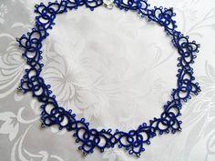 Handmade tatted Halskette blau von carmentatting auf Etsy