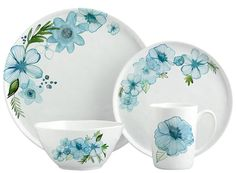 Margaret Berg Art: Teal Petals Dinnerware