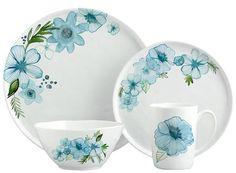 Margaret Berg Art: Teal Petals Dinnerware