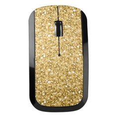 Sparkly Gold Glitter Pattern Wireless Mouse
