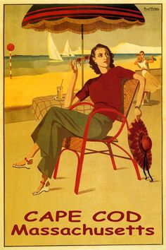 Summer Travel Cape Cod Island Fashion Beach Dancing Sailing Vintage Poster Repro