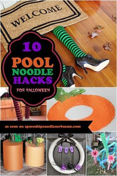 10 Pool Noodle Hacks for Halloween - - Who knew a summertime pool toy could be so much more? Check out these pool noodle hacks for Halloween. Pool Noodle Halloween, Halloween Party Games, Diy Halloween Decorations, Holidays Halloween, Easy Halloween, Halloween Crafts, Holiday Crafts, Halloween Stuff, Halloween Camping
