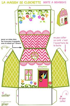 Kids Home Made Arts and Crafts by Pink and Geen Mama Box Houses, Paper Houses, Paper Toys, Paper Crafts, Diy Crafts, Paper Paper, Printable Box, Free Printables, House Template