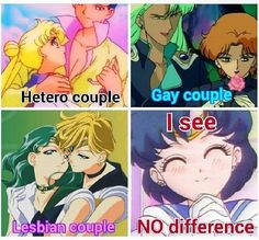 Sailor Moon couples...Usagi and Mamoru(Top Left), Zoisite and Kunzite(Top Right), Michiru and Haruka(Bottom Left)...Sailor Moon has different couples you can enjoy seeing together whether you are into same sex or not...<3 #LoveIsLove