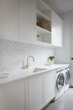 modern laundry room design, modern laundry room organization, laundry room cabinets with sink and open shelves and tile floor, laundry in mudroom design Laundry Design, Room Inspiration, Minimalist Decor, Kitchen Decor, Laundry In Bathroom, Splashback, Home Decor, Modern Laundry Rooms, Room Design