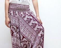 Art Elephant Thai  Harem Pants/ Hippie Pants/ Gypsy Aladdin Genie Pants/ Yoga Pants/ Wide Leg Pants (Scarlet)