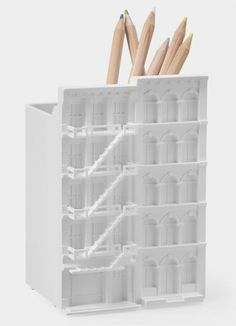 Created for the TWDW Taiwan designers' week in the 'bitplay ARCHI Classic Series' is composed of file holders and pen cups inspired by the ornate Bar Pencil Holder, Pen Holders, Diy Stationery Holder, Chicago Architecture Foundation, Moma Store, Pencil Cup, Home And Deco, Staying Organized, Desk Accessories