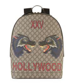 Gucci Wolf Print Gg Supreme Hollywood Backpack In 8697 Beige Black Backpack, Backpack Bags, Leather Backpack, Gucci Men, Gucci Bags, Gucci Gucci, Accessoires Gucci, Supreme Backpack, Backpacks