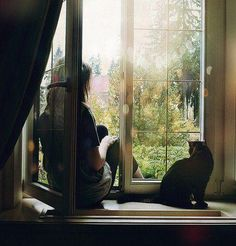 Girl in window with a cat