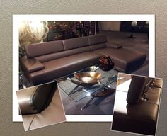 Chocolate sectional with glass table and copper accessories.