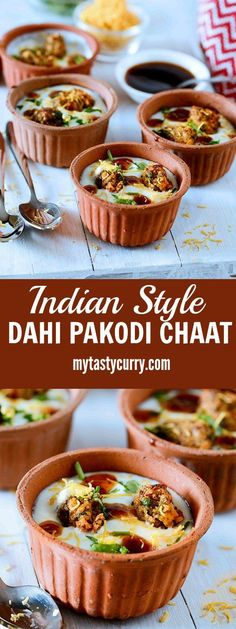 Dahi Pakodi chaat is Indian spicy and tangy chaat in which dal ki pakodi is served soaked in seasoned curd with generous toppings of sweet and sour chutneys crunchy sev and other seasonings (Vegan Curry Masala) Vegan Indian Recipes, Veg Recipes, Real Food Recipes, Vegetarian Recipes, Cooking Recipes, Yummy Food, Tasty, Cooking Tips, Sweet Recipes