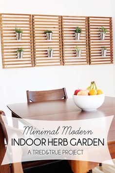 Super easy way to add an Indoor Herb Garden to your dining room! Crossing my fingers I can keep the plants alive!