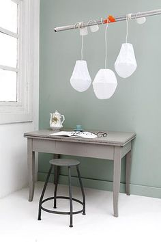 grey desk and lights. Workspace Inspiration, Interior Inspiration, Wall Colors, House Colors, Grey Colors, Pretty Things, Interior Styling, Interior Design, Grey Desk