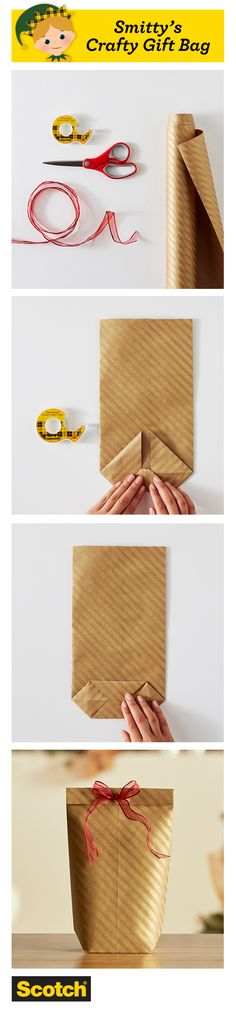 Make this fast gift bag of wrapping paper when it's midnight on Christmas Eve and you end up with an oddly shaped gift and no longer available bags. Christmas Gift Wrapping, Christmas Crafts, Christmas Christmas, Homemade Gifts, Diy Gifts, Furoshiki, Present Wrapping, Paper Wrapping, Diy Wrapping