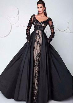Wunderbare Tüll & Taft V-Ausschnitt A-Linie Abendkleider mit Spitze Applikationen