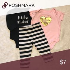 """Carter's baby girl bundle """"little sister"""" 0-3 GUC Carter's little sister bundle. 0-3 months. Super cute outfits! No staining. Light wearing. Carter's Matching Sets"""