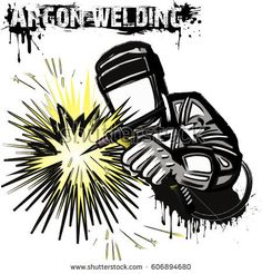 Welder in a mask performing argon welding of the metal. Welding Logo, Argon Welding, Miller Welding Helmet, Welding Electrodes, Letras Tattoo, Electric Welding, Welder Shirts, Welding Torch, Welding And Fabrication