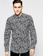 Antony Morato Slim Shirt with All Over Leaf Print