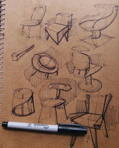Furniture sketch chairs #ChairDrawing