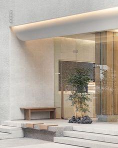 Korean eyewear brand YUN has recently opened its first flagship store in Seoul's Seongsu — Design Anthology Entrance Design, Facade Design, Exterior Design, Interior And Exterior, House Design, Architecture Details, Interior Architecture, Minimal Architecture, Coffee Shop Design