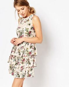 Oasis Ditsy Lace Trim Tiered Dress