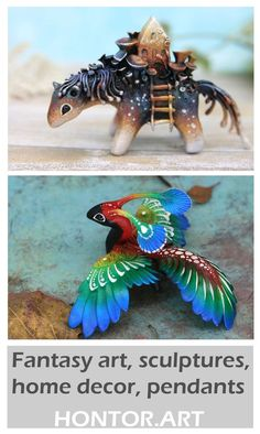 Dragons and Fantasy Animals Miniatures by Evgeny Hontor. Painted and unpainted totem polymer clay figurines for Home decor, aquarium decor and collecting. Clay figurines of fantasy creatures, animals and dragons. Fantasy art, Sculptures, Home decor, Pendants. Fantasy creatures, fairy beasts and cute aliens #animalcreatures #claycrafts #Figurine #fantasyanimals
