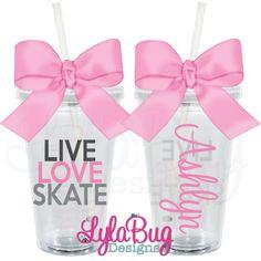 Live Love Skate Personalized Acrylic Tumbler LylaBug Designs Figure Skating