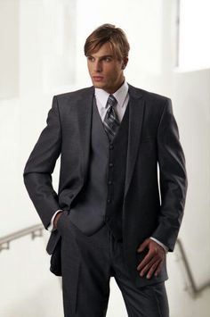 I love this dark grey tux for the groom