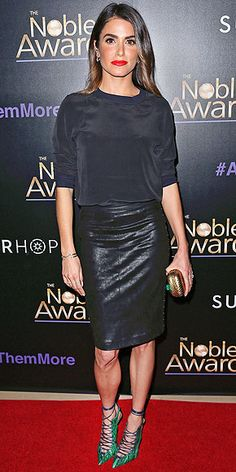 Last Night's Look: Love It or Leave It? | NIKKI REED | in an n: Philanthropy silk blouse and faux leather skirt, plus a Corto Moltedo clutch and jewelry by Jennifer Fisher, Monica Vinader and Pamela Love (not to mention her own new engagement ring!) at the Noble Awards in Beverly Hills.