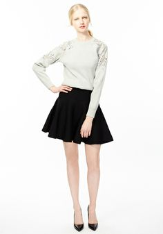 Le Ciel Bleu Embroidered Lace Top and Stretch Flare Skirt