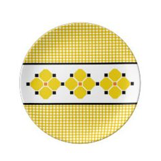 Gingham and Flowers Porcelain Plate in Yellow