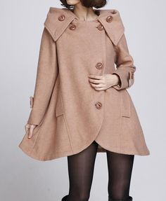 Camel cloak wool coat Hooded Cape would look so good with sorel Joan of Arctic™ Wedge boot on sleigh ride