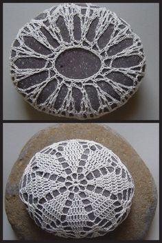 Crochet rock, stone doily cover. Inspiration