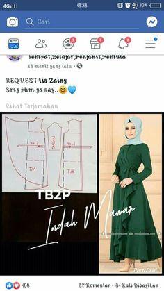 Hijab Dress, Blouse Dress, Dress Sewing Patterns, Clothing Patterns, Gamis Simple, Simple Dress Pattern, Batik Dress, Dress With Cardigan, Simple Dresses