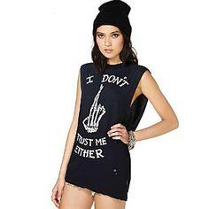 Skeleton Hand Design Womens Casual Summer T-Shirt Black