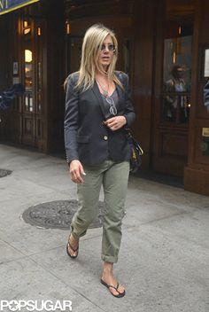 Jennifer Aniston Hits the Streets With Her Famous Hair - only she can look good on this outfit