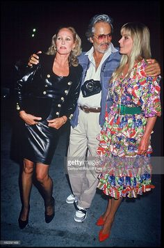 Ursula Andress, Bo and John Derek at Paris-Match 40th Birthday-Party, 1987.