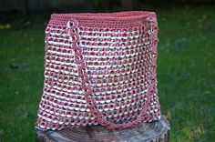 Upcycled Mauve Crochet Pop Tab Purse by Flor7 on Etsy, $60.00