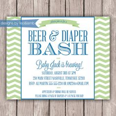beer and diaper shower and wishes card for by