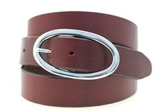 "Orion Leather Women's Hip Or Waist Burgundy Latigo Leather Belt 1 1/4"" Oval Nickel Buckle American Made"
