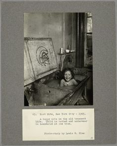 A happy note in tenement life.  A child is bathed and laundry is cleaned at the same time.  East Side, New York City, 1905 (1905)