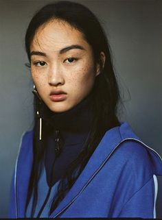 """arcaneist: """"Jing Wen in 'We don't Tan, we Freckle' by Matteo Montanari // i-D Magazine (b&w filter added by arcaneist) """" Most Beautiful Faces, You're Beautiful, Beautiful People, Asian Freckles, Tan Asian, My Beauty, Hair Beauty, Jing Wen, Freckle Face"""