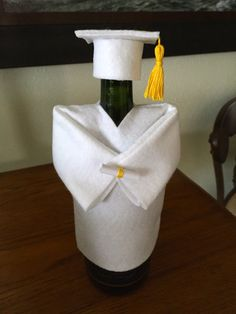 Personalize Your Colors, Graduation Cap and Gown Champagne bottle cover, Wine Bottle Cover Party Decoration Graduation Gift Graduation Cap And Gown, Graduation Party Decor, College Graduation, Grad Parties, Graduation Gifts, Graduation Ideas, Graduation Table Decorations, Party Decoration, Graduation Centerpiece