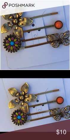 Capelli Hair Pin Set Set of four coordinating hair pins, gold-tone, with coral, turquoise, purple, & yellow, butterfly and flower motifs, NWT (A/J Capelli of New York Accessories Hair Accessories