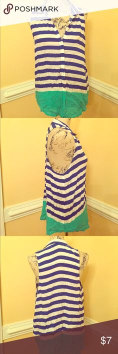 Hollister Tank Hollister button up loose fitting tank. Blue and white striped with turquoise color block in the bottom. Size large. Hollister Tops Tank Tops